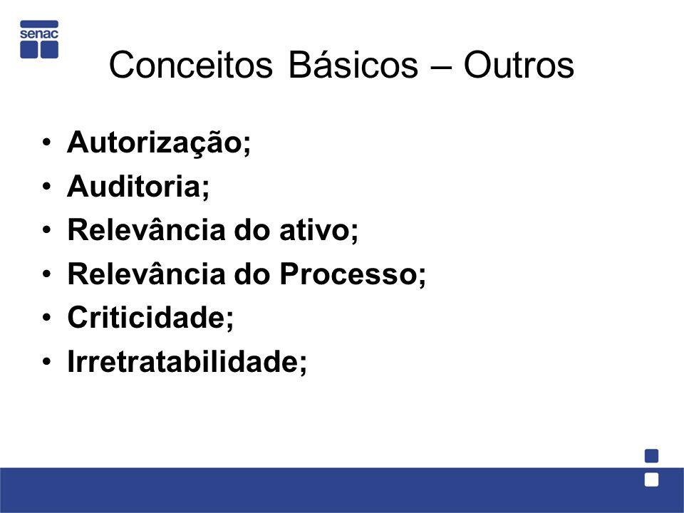 Conceitos Básicos – Outros Autorização; Auditoria; Relevância do ativo; Relevância do Processo; Criticidade; Irretratabilidade;