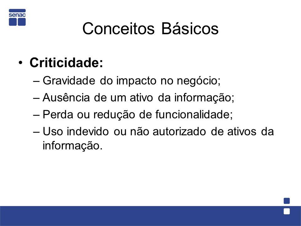 Conceitos Básicos Criticidade: –Gravidade do impacto no negócio; –Ausência de um ativo da informação; –Perda ou redução de funcionalidade; –Uso indevi