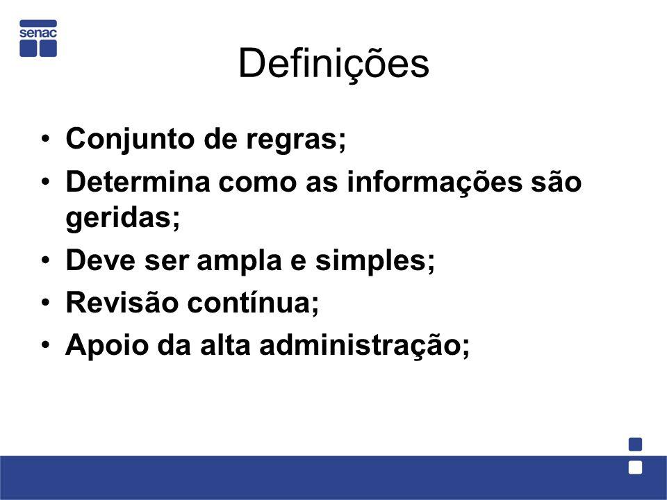 Definições Conjunto de regras; Determina como as informações são geridas; Deve ser ampla e simples; Revisão contínua; Apoio da alta administração;