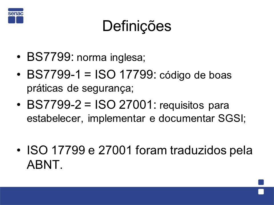 Definições BS7799: norma inglesa; BS7799-1 = ISO 17799: código de boas práticas de segurança; BS7799-2 = ISO 27001: requisitos para estabelecer, imple