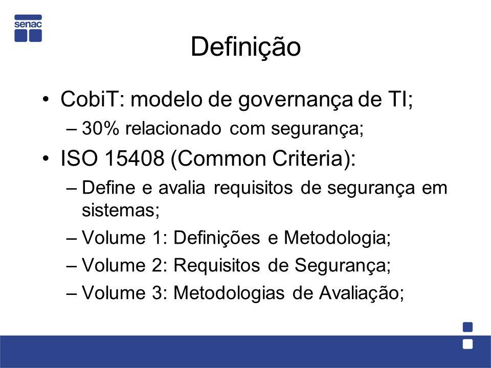 Definição CobiT: modelo de governança de TI; –30% relacionado com segurança; ISO 15408 (Common Criteria): –Define e avalia requisitos de segurança em