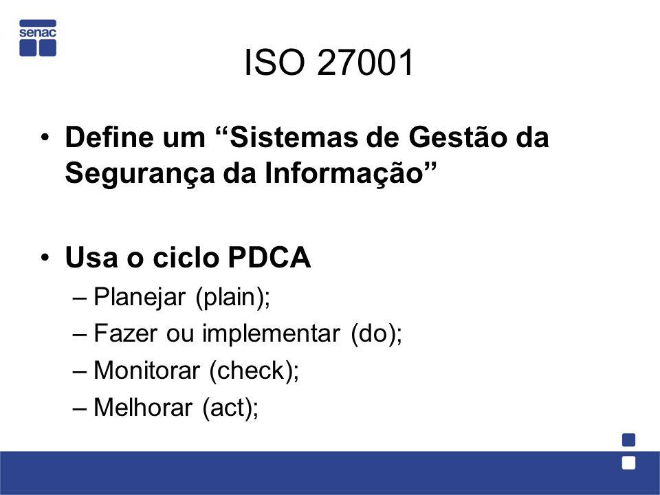 ISO 27001 Define um Sistemas de Gestão da Segurança da Informação Usa o ciclo PDCA –Planejar (plain); –Fazer ou implementar (do); –Monitorar (check);