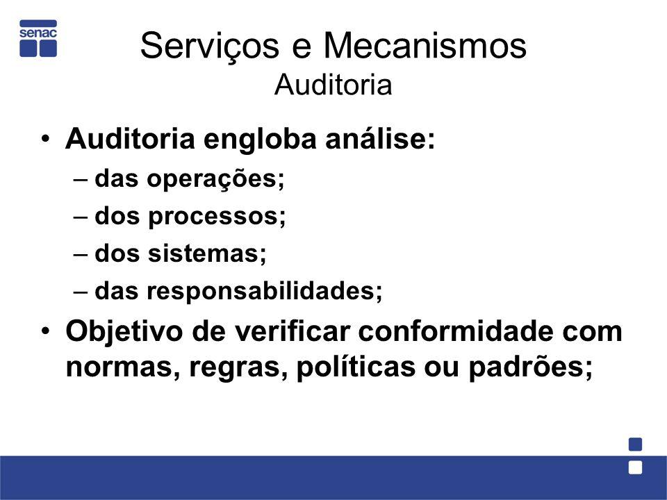 Serviços e Mecanismos Auditoria Auditoria engloba análise: –das operações; –dos processos; –dos sistemas; –das responsabilidades; Objetivo de verifica
