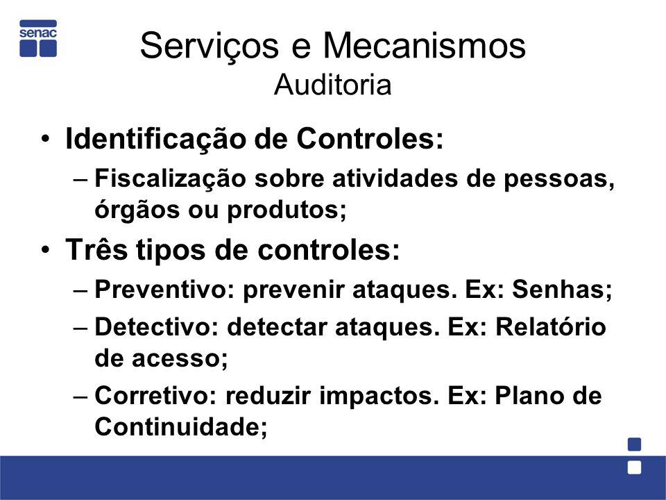 Serviços e Mecanismos Auditoria Identificação de Controles: –Fiscalização sobre atividades de pessoas, órgãos ou produtos; Três tipos de controles: –P