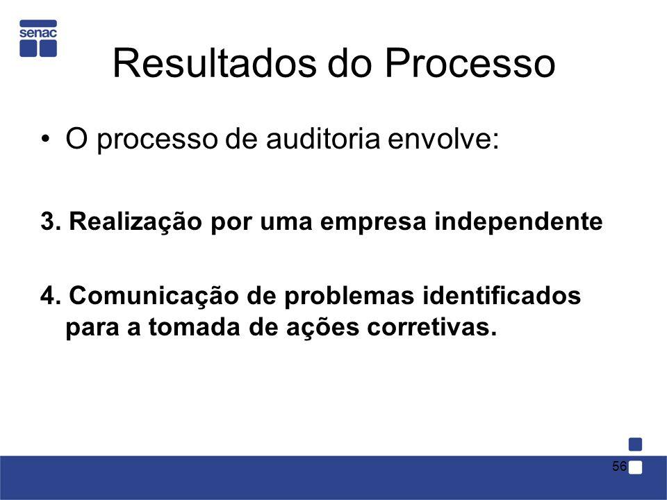 Resultados do Processo O processo de auditoria envolve: 3. Realização por uma empresa independente 4. Comunicação de problemas identificados para a to