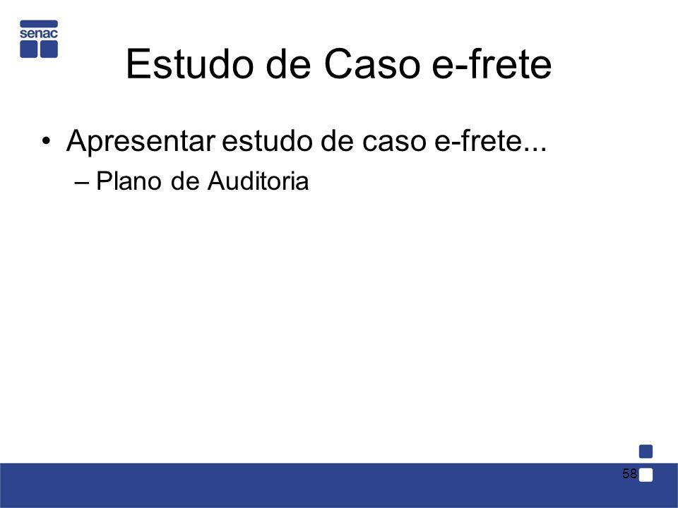 Estudo de Caso e-frete Apresentar estudo de caso e-frete... –Plano de Auditoria 58