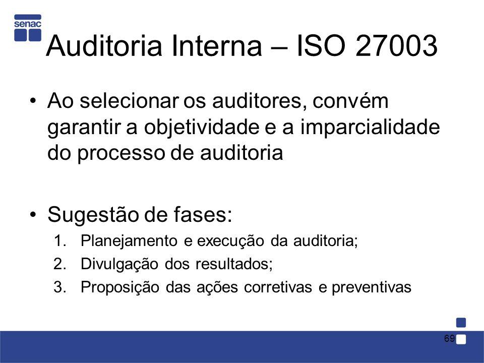 Auditoria Interna – ISO 27003 Ao selecionar os auditores, convém garantir a objetividade e a imparcialidade do processo de auditoria Sugestão de fases
