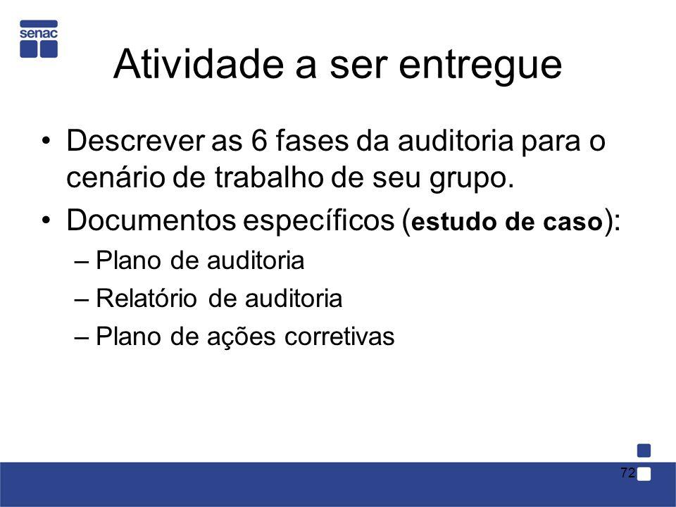 Atividade a ser entregue Descrever as 6 fases da auditoria para o cenário de trabalho de seu grupo. Documentos específicos ( estudo de caso ): –Plano