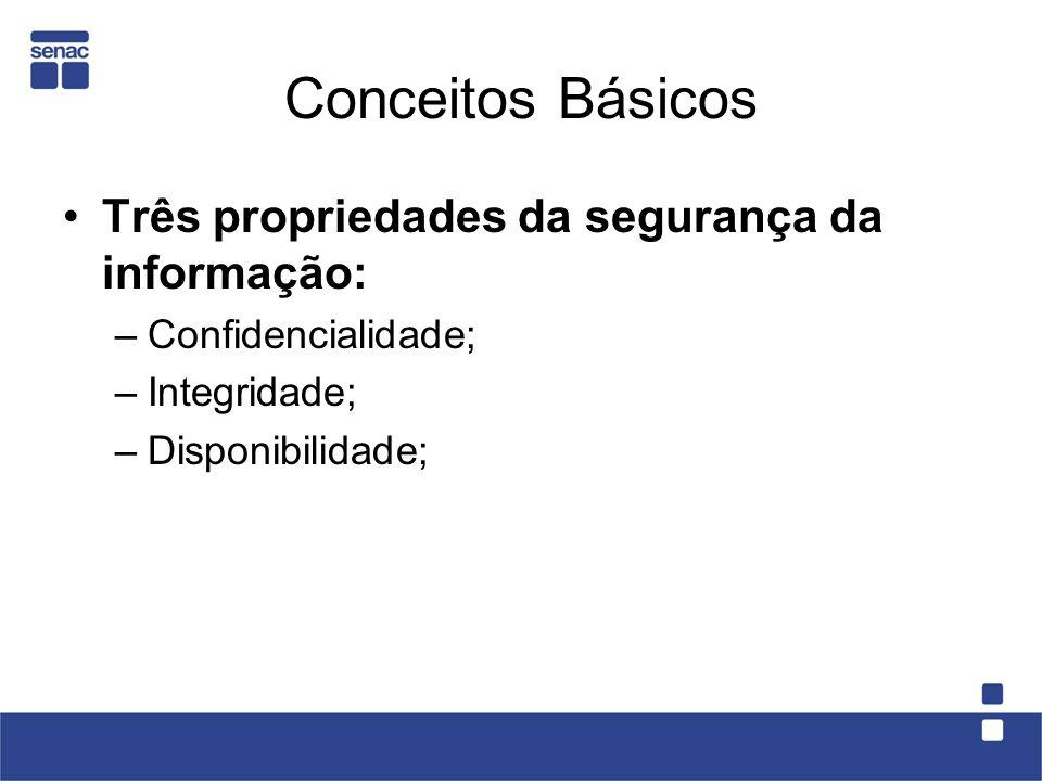 Conceitos Básicos Três propriedades da segurança da informação: –Confidencialidade; –Integridade; –Disponibilidade;