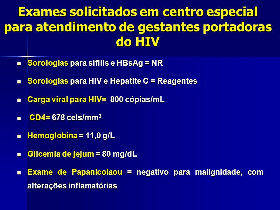 Sorologias para sífilis e HBsAg = NR Sorologias para sífilis e HBsAg = NR Sorologias para HIV e Hepatite C = Reagentes Sorologias para HIV e Hepatite