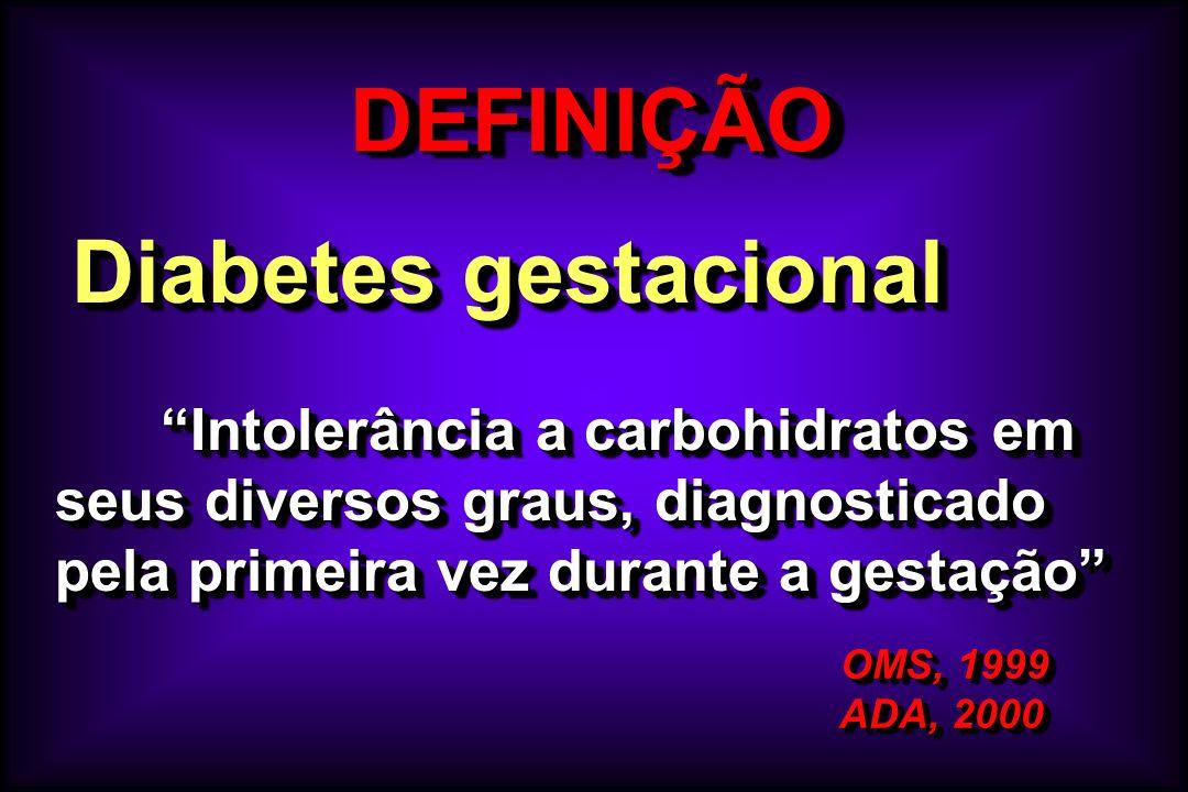DEFINIÇÃODEFINIÇÃO OMS, 1999 OMS, 1999 ADA, 2000 ADA, 2000 OMS, 1999 OMS, 1999 ADA, 2000 ADA, 2000 Diabetes gestacional Diabetes gestacional Intolerân