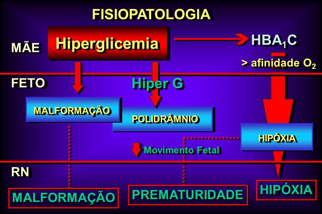 FISIOPATOLOGIAFISIOPATOLOGIA MÃEMÃE FETOFETO HiperglicemiaHiperglicemia HIPÓXIAHIPÓXIA RNRN MALFORMAÇÃOMALFORMAÇÃO POLIDRÂMNIOPOLIDRÂMNIO HBA 1 C HIPÓ