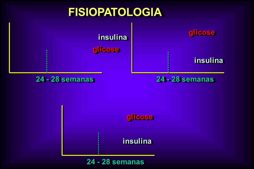 FISIOPATOLOGIAFISIOPATOLOGIA glicoseglicose insulinainsulina 24 - 28 semanas glicoseglicose insulinainsulina glicoseglicose insulinainsulina