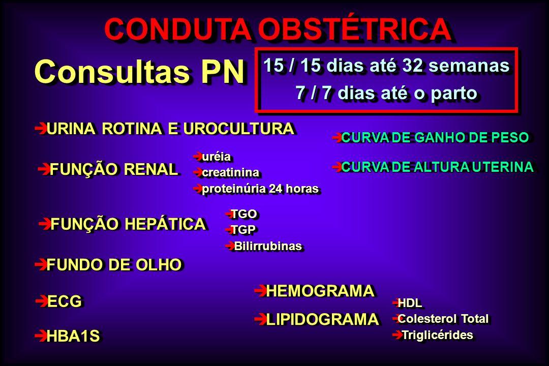 è CURVA DE GANHO DE PESO è CURVA DE ALTURA UTERINA è CURVA DE GANHO DE PESO è CURVA DE ALTURA UTERINA CONDUTA OBSTÉTRICA Consultas PN 15 / 15 dias até