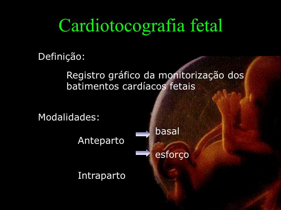 Cardiotocografia fetal Registro gráfico da monitorização dos batimentos cardíacos fetais Definição: Modalidades: Anteparto Intraparto basal esforço