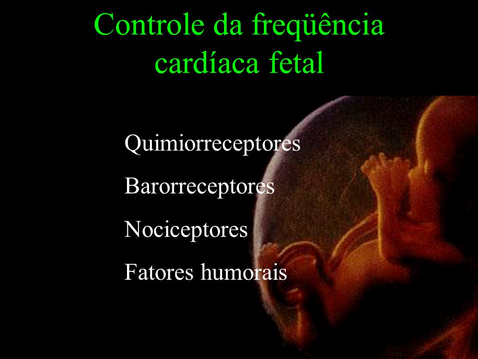 Controle da freqüência cardíaca fetal Quimiorreceptores Barorreceptores Nociceptores Fatores humorais