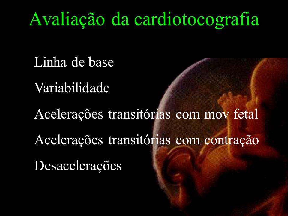Avaliação da cardiotocografia Linha de base Variabilidade Acelerações transitórias com mov fetal Acelerações transitórias com contração Desacelerações
