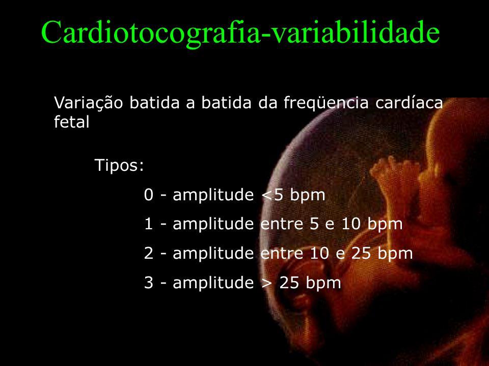 Cardiotocografia-variabilidade Variação batida a batida da freqüencia cardíaca fetal Tipos: 0 - amplitude <5 bpm 1 - amplitude entre 5 e 10 bpm 2 - amplitude entre 10 e 25 bpm 3 - amplitude > 25 bpm
