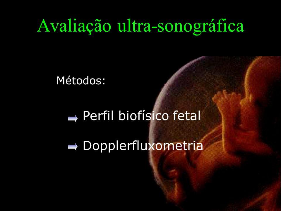 Avaliação ultra-sonográfica Perfil biofísico fetal Dopplerfluxometria Métodos: