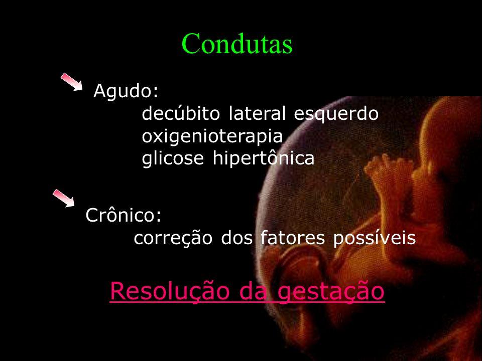 Agudo: decúbito lateral esquerdo oxigenioterapia glicose hipertônica Crônico: correção dos fatores possíveis Condutas Resolução da gestação