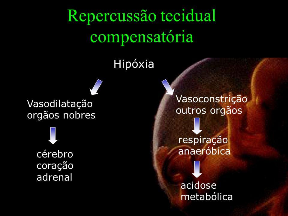 Repercussão tecidual compensatória Hipóxia Vasodilatação orgãos nobres Vasoconstrição outros orgãos cérebro coração adrenal respiração anaeróbica acid