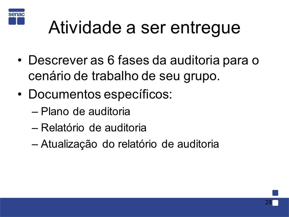 Atividade a ser entregue Descrever as 6 fases da auditoria para o cenário de trabalho de seu grupo.