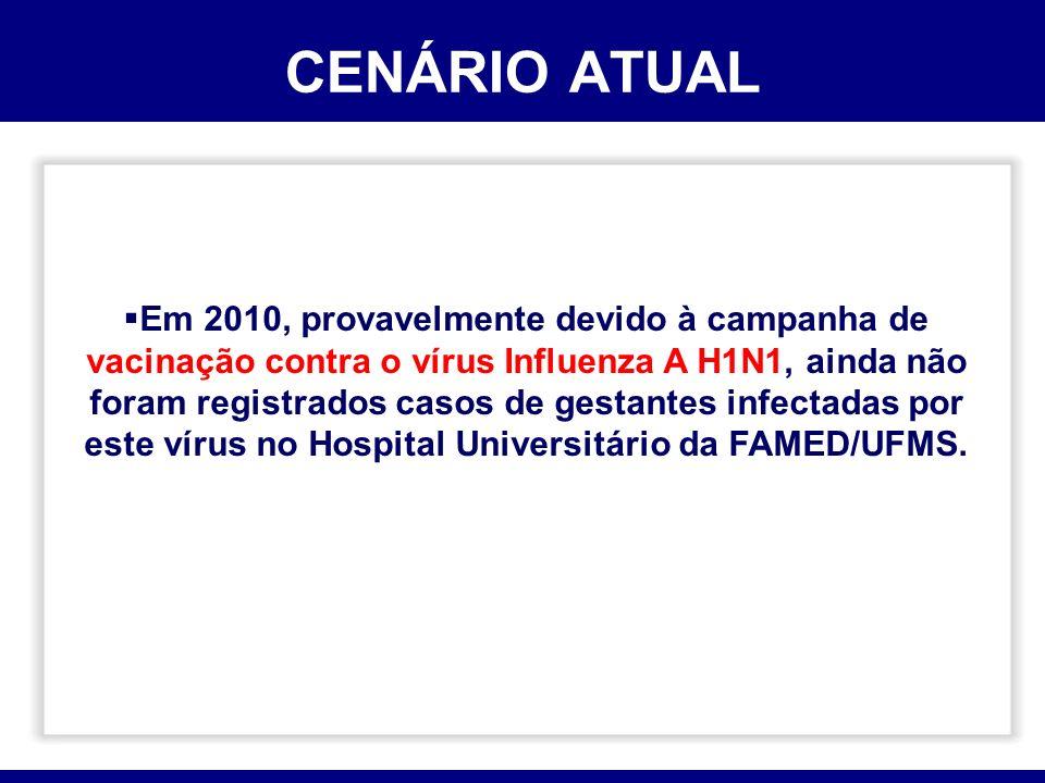 CENÁRIO ATUAL Em 2010, provavelmente devido à campanha de vacinação contra o vírus Influenza A H1N1, ainda não foram registrados casos de gestantes in
