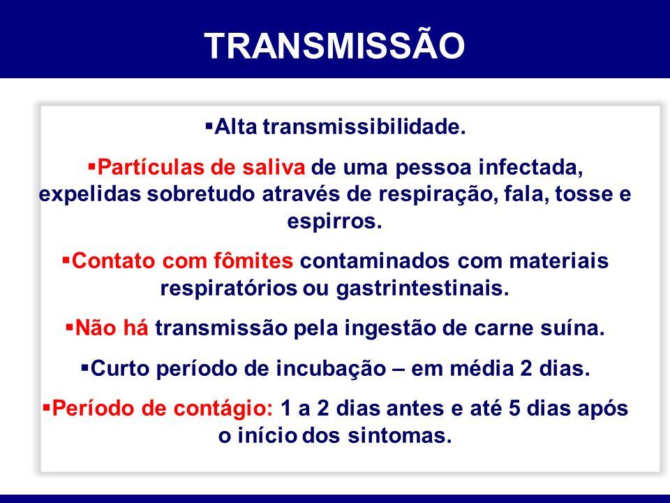 TRANSMISSÃO Alta transmissibilidade. Partículas de saliva de uma pessoa infectada, expelidas sobretudo através de respiração, fala, tosse e espirros.