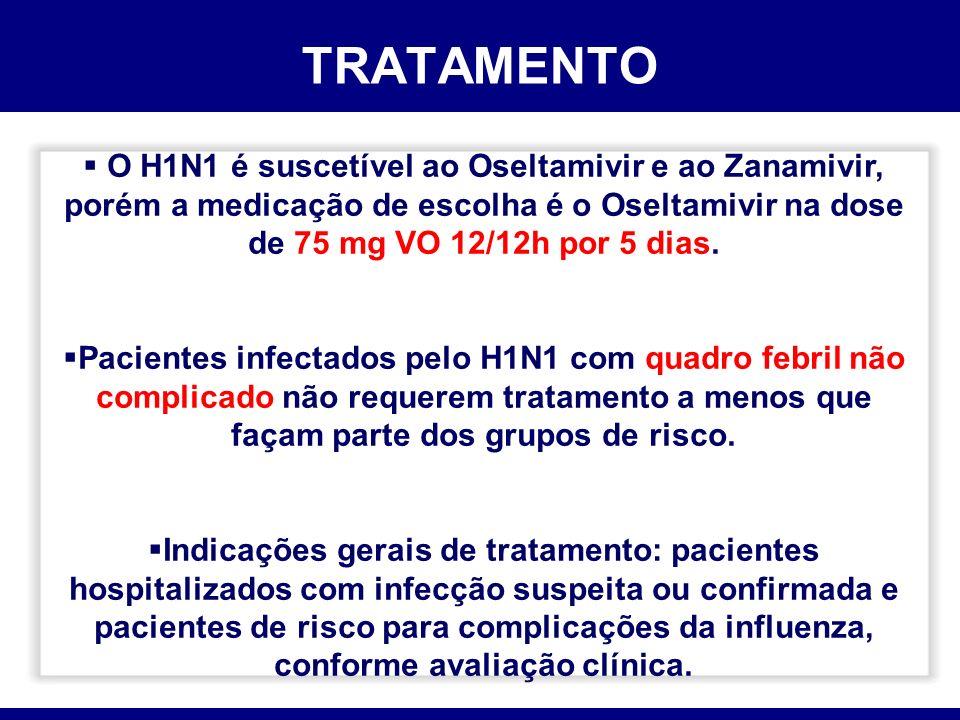 TRATAMENTO O H1N1 é suscetível ao Oseltamivir e ao Zanamivir, porém a medicação de escolha é o Oseltamivir na dose de 75 mg VO 12/12h por 5 dias. Paci