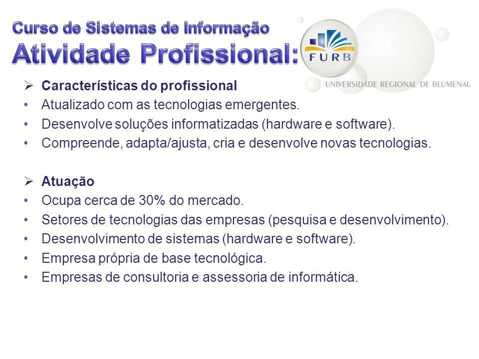 Características do profissional Atualizado com as tecnologias emergentes. Desenvolve soluções informatizadas (hardware e software). Compreende, adapta