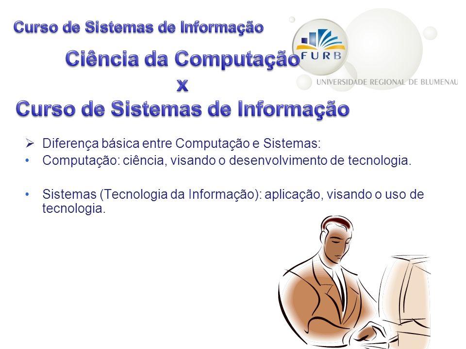 Diferença básica entre Computação e Sistemas: Computação: ciência, visando o desenvolvimento de tecnologia. Sistemas (Tecnologia da Informação): aplic