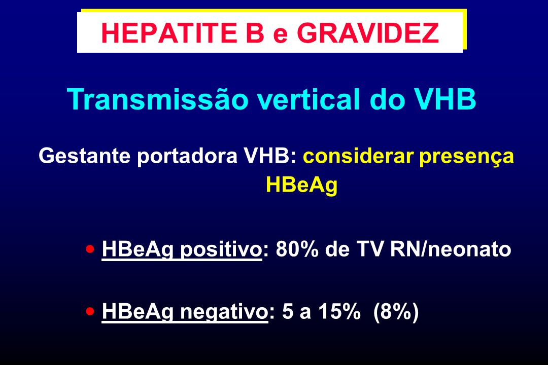 Gestante portadora VHB: considerar presença HBeAg HBeAg positivo: 80% de TV RN/neonato HBeAg negativo: 5 a 15% (8%) HEPATITE B e GRAVIDEZ Transmissão