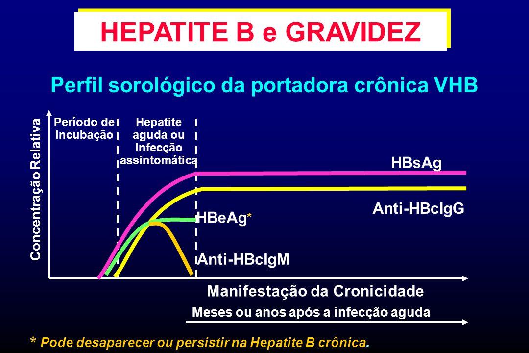 Perfil sorológico da portadora crônica VHB Manifestação da Cronicidade Meses ou anos após a infecção aguda Período de Incubação Concentração Relativa