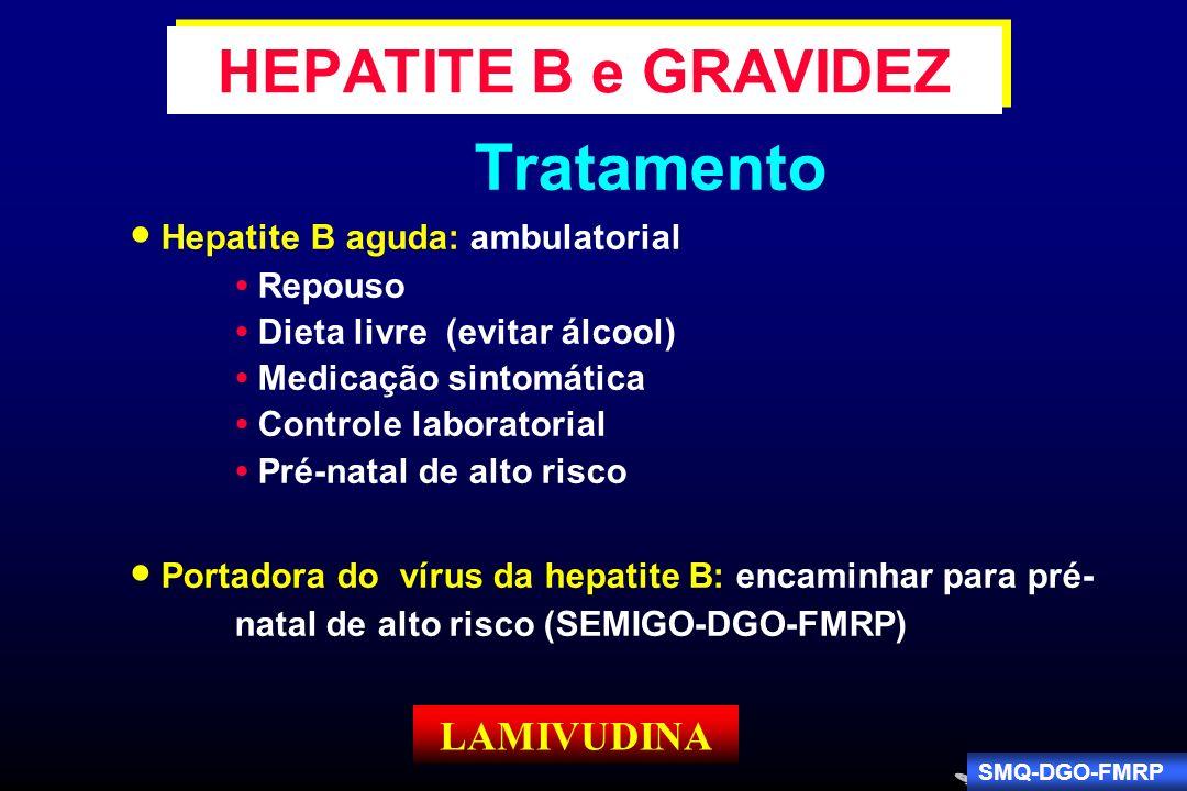 Tratamento Hepatite B aguda: ambulatorial Repouso Dieta livre (evitar álcool) Medicação sintomática Controle laboratorial Pré-natal de alto risco Port