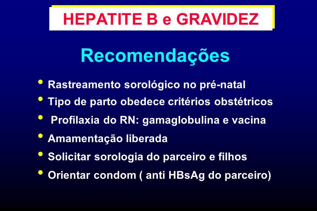 Rastreamento sorológico no pré-natal Tipo de parto obedece critérios obstétricos Profilaxia do RN: gamaglobulina e vacina Amamentação liberada Solicit