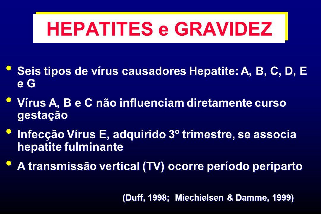 HEPATITES e GRAVIDEZ Seis tipos de vírus causadores Hepatite: A, B, C, D, E e G Vírus A, B e C não influenciam diretamente curso gestação Infecção Vír