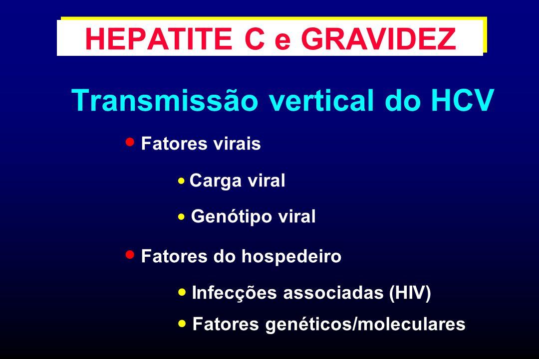 Transmissão vertical do HCV Fatores virais Carga viral Genótipo viral Fatores do hospedeiro Infecções associadas (HIV) Fatores genéticos/moleculares H
