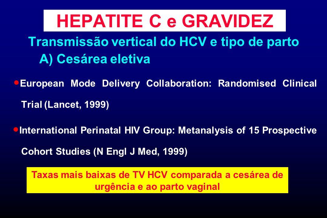 HEPATITE C e GRAVIDEZ Transmissão vertical do HCV e tipo de parto A) Cesárea eletiva European Mode Delivery Collaboration: Randomised Clinical Trial (