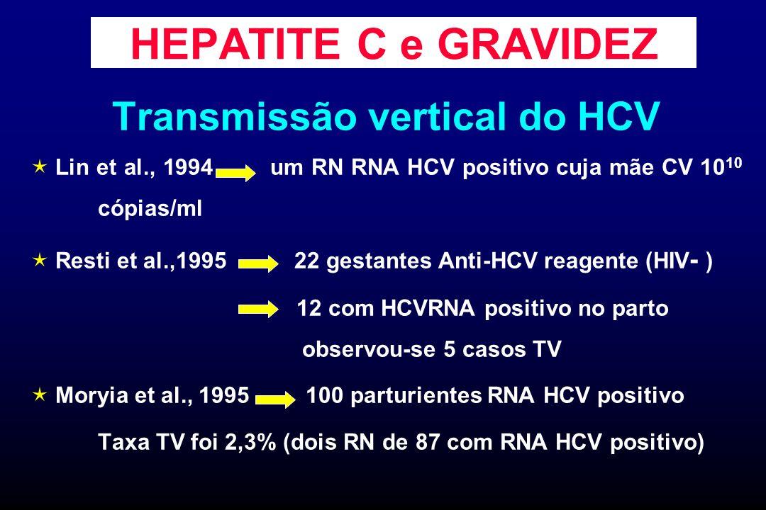 HEPATITE C e GRAVIDEZ Transmissão vertical do HCV Lin et al., 1994 um RN RNA HCV positivo cuja mãe CV 10 10 cópias/ml Resti et al.,1995 22 gestantes A