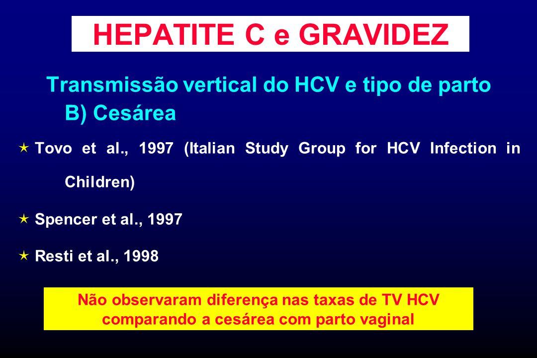 HEPATITE C e GRAVIDEZ Transmissão vertical do HCV e tipo de parto B) Cesárea Tovo et al., 1997 (Italian Study Group for HCV Infection in Children) Spe