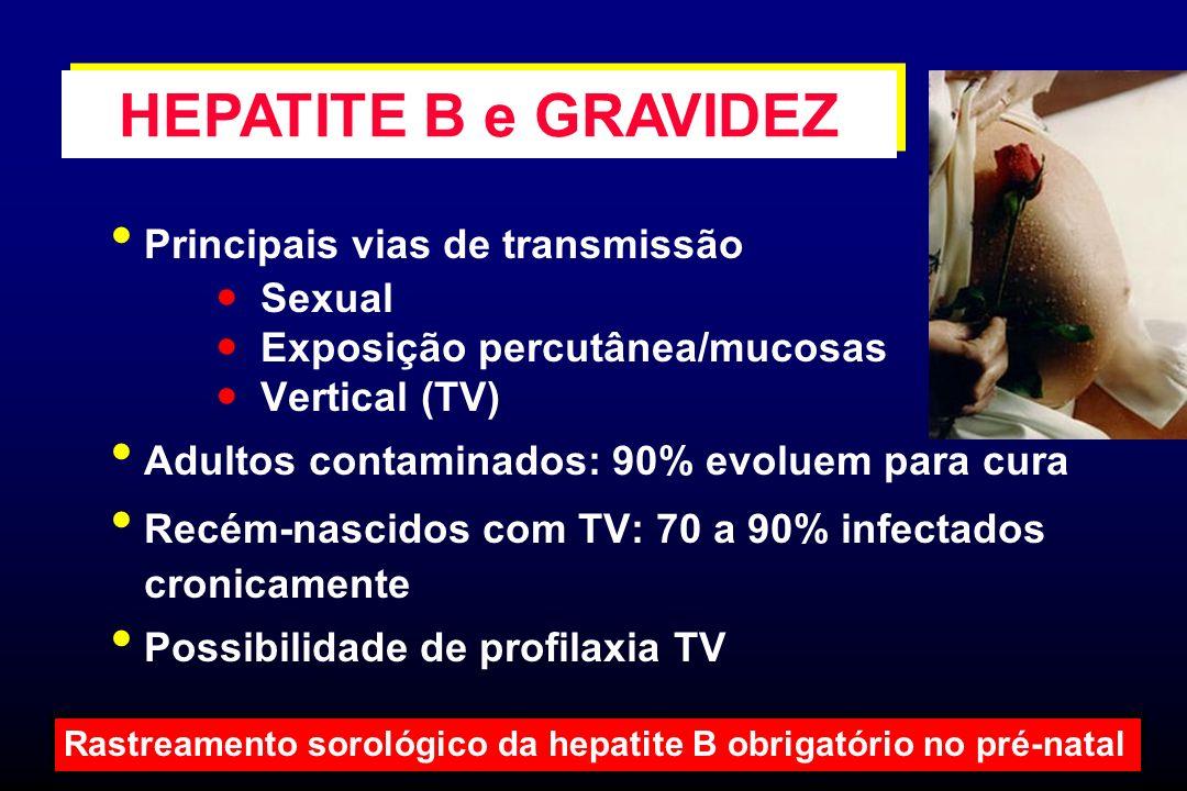 Principais vias de transmissão Sexual Exposição percutânea/mucosas Vertical (TV) Adultos contaminados: 90% evoluem para cura Recém-nascidos com TV: 70