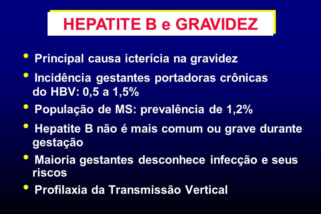 Principal causa icterícia na gravidez Incidência gestantes portadoras crônicas do HBV: 0,5 a 1,5% População de MS: prevalência de 1,2% Hepatite B não