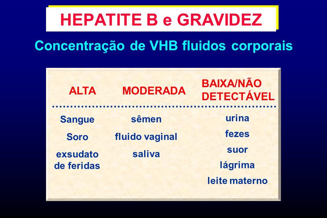 Transmissão mãe-filho do HBV (vertical) Intra - útero (5 %) transfusão materno -fetal Perinatal (95 %) sangue, secreções maternas e líquido amniótico Pós-natal contato próximo e leite materno (?) HEPATITE B e GRAVIDEZ