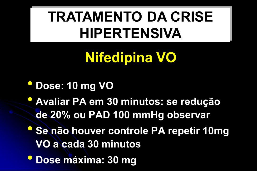 Nifedipina VO Dose: 10 mg VO Avaliar PA em 30 minutos: se redução de 20% ou PAD 100 mmHg observar Se não houver controle PA repetir 10mg VO a cada 30 minutos Dose máxima: 30 mg TRATAMENTO DA CRISE HIPERTENSIVA