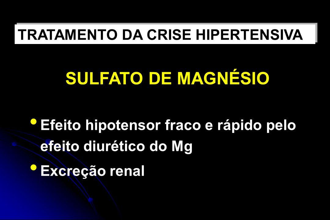 Efeito hipotensor fraco e rápido pelo efeito diurético do Mg Excreção renal TRATAMENTO DA CRISE HIPERTENSIVA SULFATO DE MAGNÉSIO