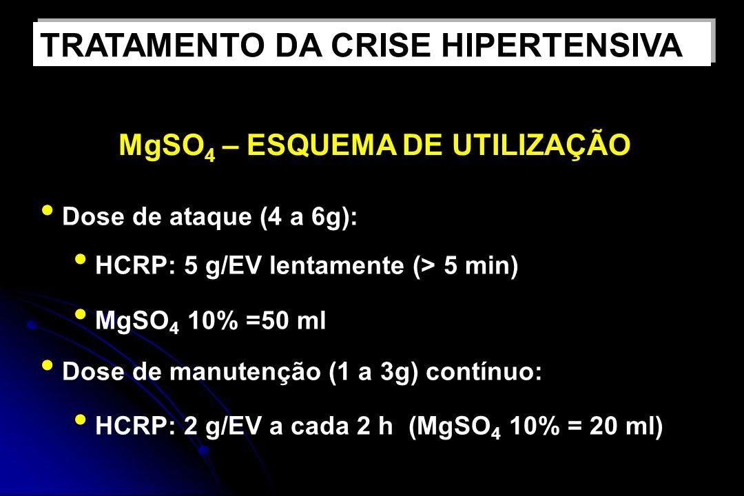 MgSO 4 – ESQUEMA DE UTILIZAÇÃO Dose de ataque (4 a 6g): HCRP: 5 g/EV lentamente (> 5 min) MgSO 4 10% =50 ml Dose de manutenção (1 a 3g) contínuo: HCRP: 2 g/EV a cada 2 h (MgSO 4 10% = 20 ml) TRATAMENTO DA CRISE HIPERTENSIVA