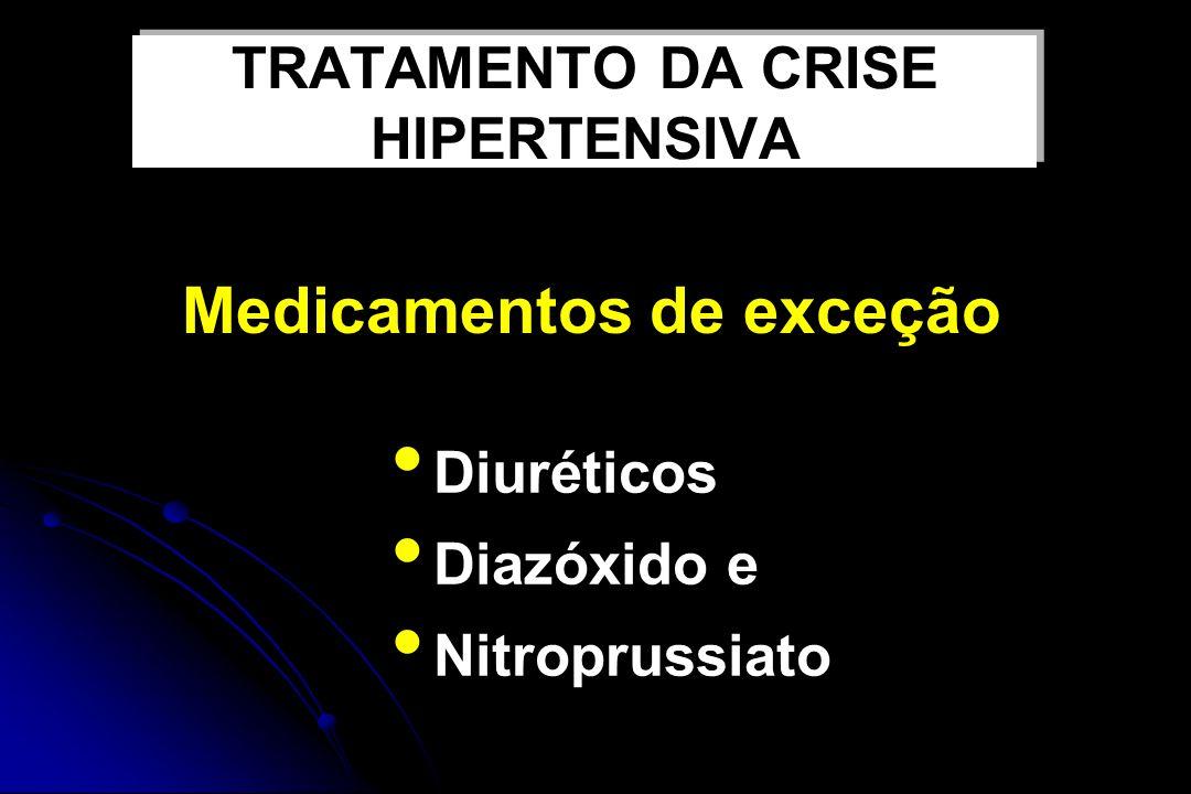 Diuréticos Diazóxido e Nitroprussiato Medicamentos de exceção TRATAMENTO DA CRISE HIPERTENSIVA