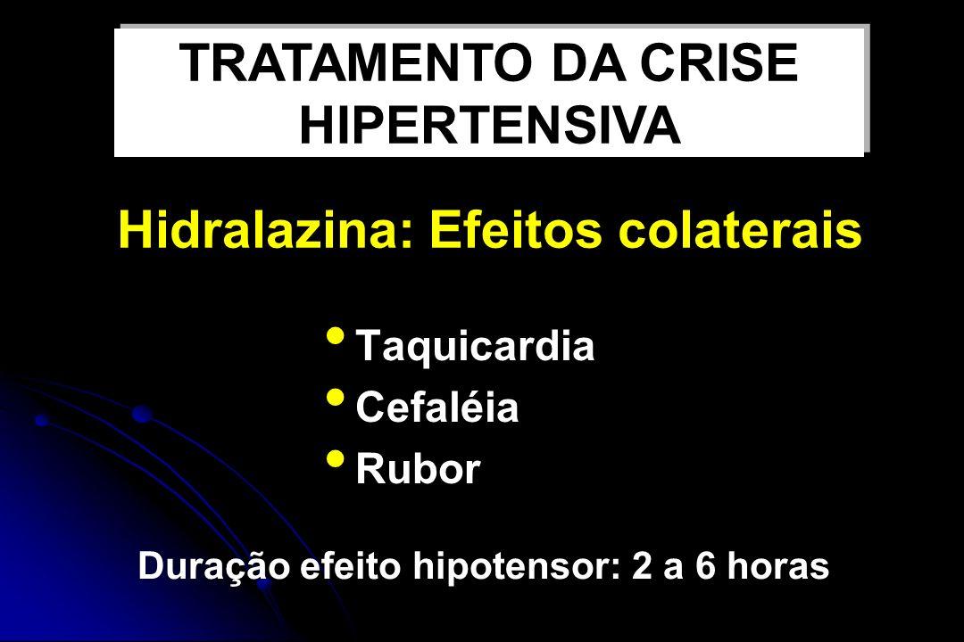 Nifedipina VO Bloqueador canal de cálcio Produz relaxamento musculatura arterial lisa Age em 10 a 30 minutos Duração efeito hipotensor: 3 a 5 horas TRATAMENTO DA CRISE HIPERTENSIVA