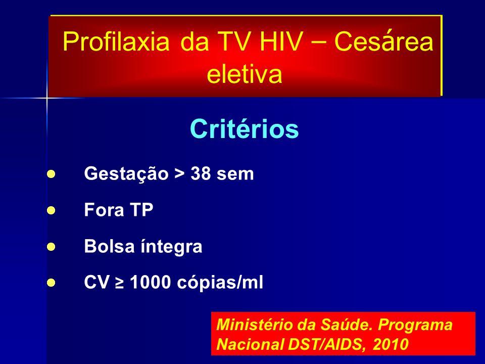 Gestação > 38 sem Fora TP Bolsa íntegra CV 1000 cópias/ml Critérios Profilaxia da TV HIV – Ces á rea eletiva Ministério da Saúde. Programa Nacional DS