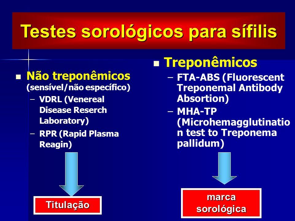 Não treponêmicos (sensível/não específico) – –VDRL (Venereal Disease Reserch Laboratory) – –RPR (Rapid Plasma Reagin) Treponêmicos –FTA-ABS (Fluoresce